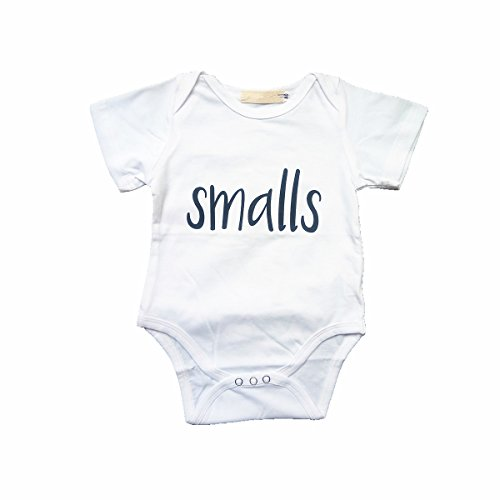 WINZIK Newborn Infant Baby Boys Girls Outfits Smalls Biggie Letters Print Romper Jumpsuit Playsuit Clothes T-Shirt (0-6 Months, Smalls)
