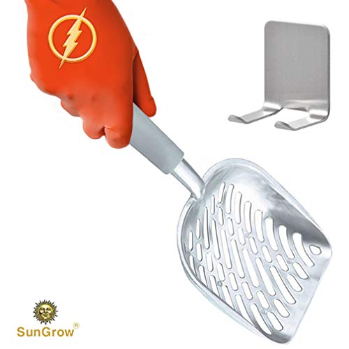 Non-stick Cat Litter Scoop --- With Deep shovel - 2-Minutes to clean poop box - Anti-Scatter sides for Easy sifting - Can last generations as family heirloom - Strong Aluminum, Lightweight handle