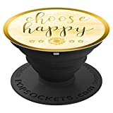 CHOOSE HAPPY Pop-Socket Golden Inspirational Gift for Women - PopSockets Grip and Stand for Phones and Tablets
