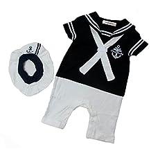 StylesILove Baby Boy Sailor Costume Romper and Hat 2-piece (12-18 Months, Navy Blue)