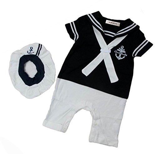 stylesilove Baby Boy Sailor Costume Romper and Hat 2-piece (90/12-18 Months, Navy (Navy Sailor Romper Costume)