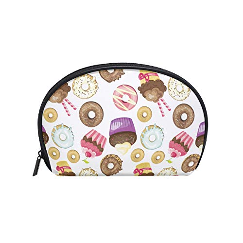 (Makeup Bag Dessert Cake Donut Pattern Colorful Cosmetic Pouch)