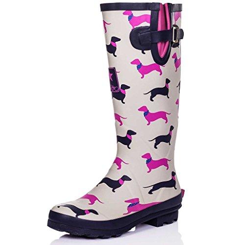 Spylovebuy Adjustable Buckle Flat Welly RAIN Boots Yellow Dogs SZ 10