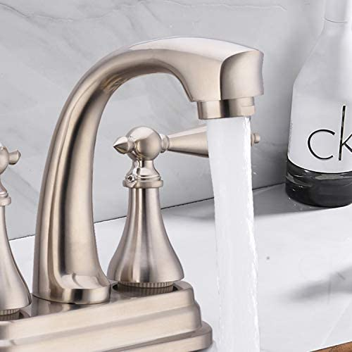 Brushed Nickel Bathroom Sink Faucet 4 Inch Centerset Lavatory Mixer Tap 2 Handle Deck Mount 2 Hole