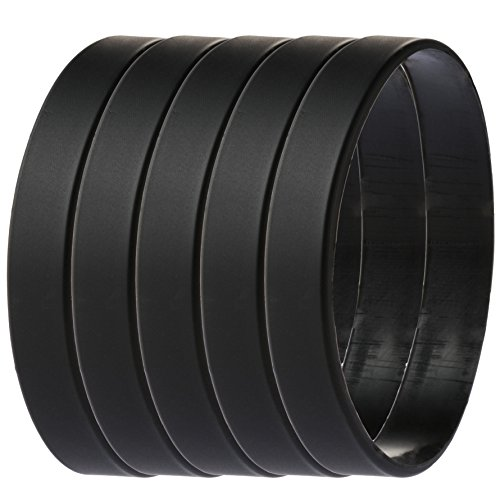 Green House-5pcs Blank Wristband Black Fashion Sports Silicone Wristband Bracelets (Silicone Sport Bracelet)