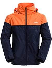 Men's Lightweight Windbreaker Fall Packable Sport Outdoor Hooded Jacket Orange Navy US Medium