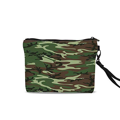 (Camo Cosmetic Bag Storage Bag,Classical American Commando Uniform Inspired Pattern Forest Tile For Women Girl,9