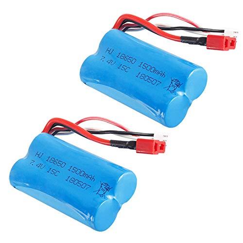 Gecoty/® 2 pezzi Batteria al litio 7.4V 1500mAh 15C con presa a T per Wltoys 12428 12423 12401 12404 auto telecomando