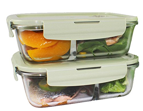 2 Compartments Glass Meal Prep Containers (2-Pcs Set) Portion Control | BPA-FREE, Airtight Leakproof Food Storage Containers| Air Vent Lids | Lunch Containers Freezer, Oven, Microwave Safe, 32 Oz