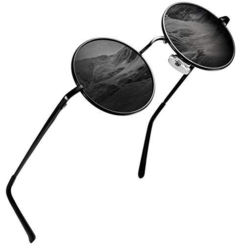 Round Sunglasses for Men Polarized Wearpro Vintage Womens Men's Sun Glasses Hippie Retro Small Circle Glass (Round Sunglasses For Men)
