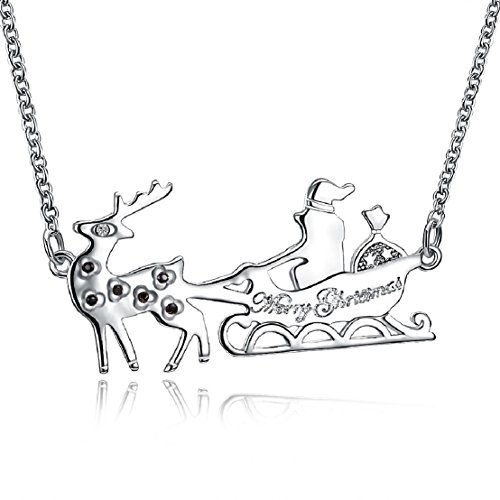 Christmas series necklace 18-inch two-tone sleigh modeling hot - Two Sleigh Tone