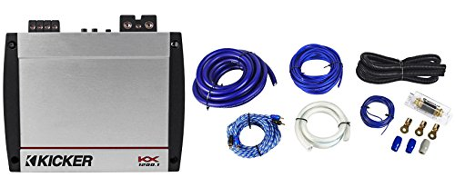 Kicker 40KX12001 KX1200.1 1200 Watt RMS Compact Mono Amplifier + Car Amp Kit