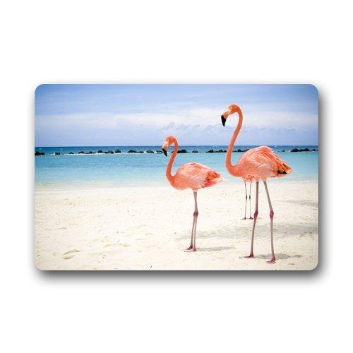 Shirleys Door Mats Flamingos On The Beach Custom Home Doormats Top Fabric&Rubber Personalized Design Machine-Wahable Floor Mat Rug Indoor/Outdoor (23.6X15.7)