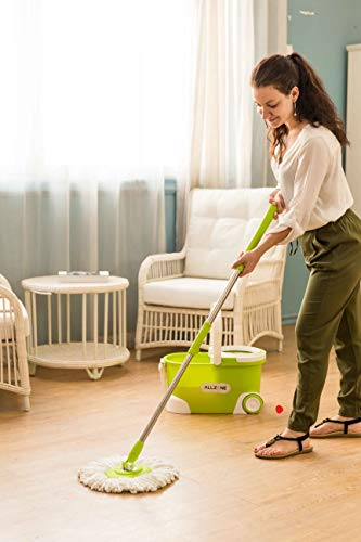 ALLZONE Spin Mop Bucket With Wringer On Wheels, Hardwood Floor Cleaning System, With 3 Microfiber Mop Refills by ALLZONE (Image #5)