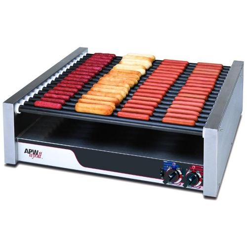 APW Wyott Chrome Surface Flat HotRod Hot Dog Roller Grill - 16 Roller, 8 1/2 x 34 3/4 x 29 9/16 inch -- 1 each.