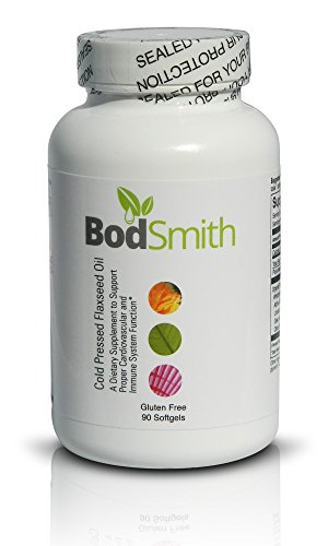 BodSmith Organic Flaxseed Oil Cold Pressed Non-GMO Professional grade Premium Quality With Highest Purity Ingredients 90 Liquid Softgels