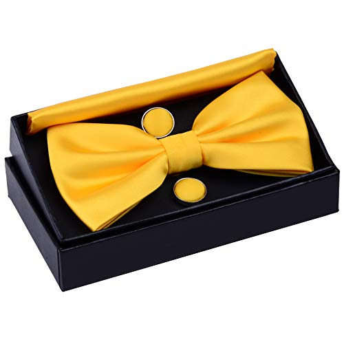 (GUSLESON Solid Color Wedding Bowtie Mens Pre-tied Yellow Bow Tie and Pocket Square Cufflink Set (0570-03))