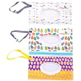 Yiphates 2Pcs Wet Wipe Pouch, Travel Wipes Case Reusable Refillable Wet Wipe Bag Travel Wipes Dispenser Wipe Pouches Baby Wet Wipe Portable Travel Cases, Random Pattern