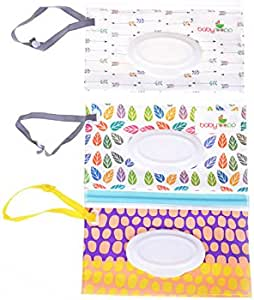 (003) - Yiphates 3Pcs Wet Wipe Pouch, Travel Wipes Case Reusable Refillable Wet Wipe Bag Travel Wipes Dispenser Wipe Pouches Baby Wet Wipe Portable Travel Cases, Random Pattern