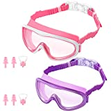 KNGUVTH Kids Swim Goggles, Pack of 2 No Leaking Swimming Goggles Anti-Fog UV Protection Crystal Clear Wide Vision Swim...