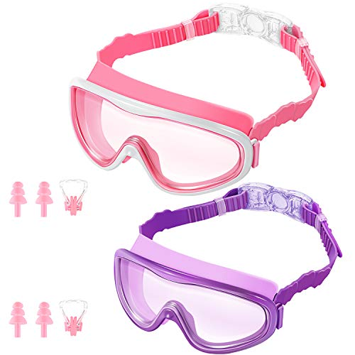 - KNGUVTH Kids Swim Goggles, Pack of 2 No Leaking Swimming Goggles Anti-Fog UV Protection Crystal Clear Wide Vision Swim Glasses with Nose Clips + Ear Plugs for Children Early Teens (Pink & Purple)