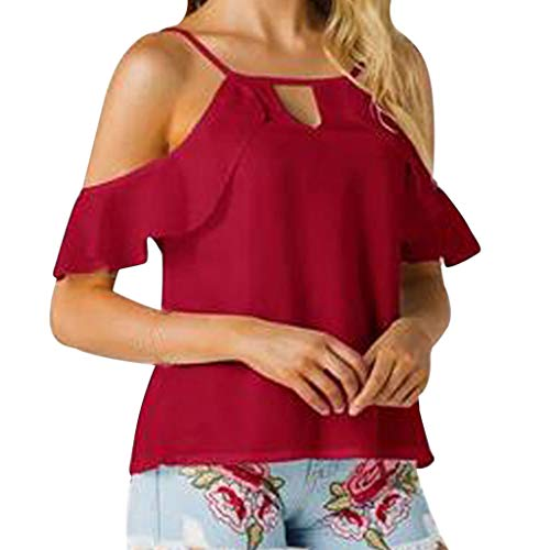 YEZIJIN Women's Fashion Strap V-Neck Top Off-The-Shoulder Solid Chiffon Top 2019 New Sexy T-Shirt -
