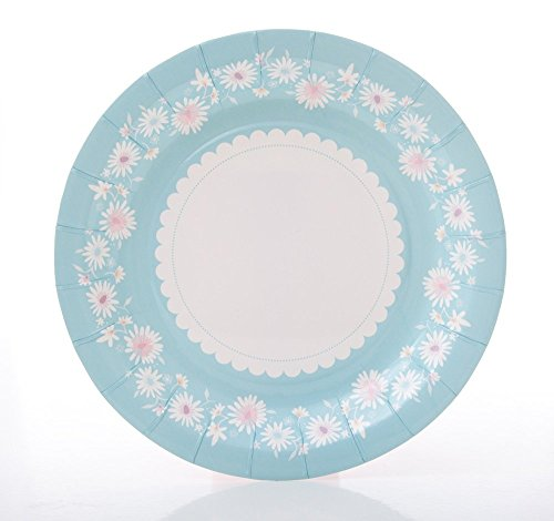 (We Love Sundays Daisy Chain Blue Cake Paper Plates | 10-Pack | Great for Pastel/Floral/Garden Themed)