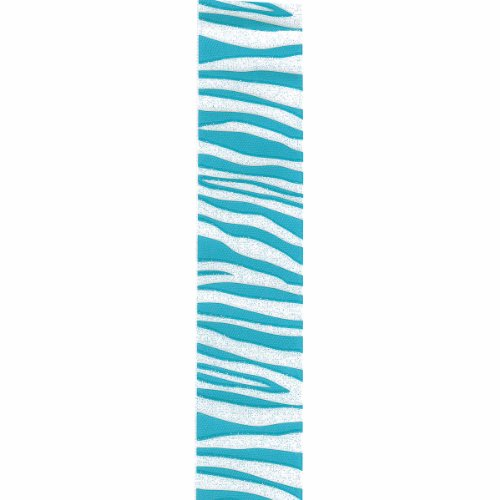 Offray Zebra Crystal Craft Ribbon, 3/8-Inch x 12-Feet, Turquoise by Offray (Image #1)
