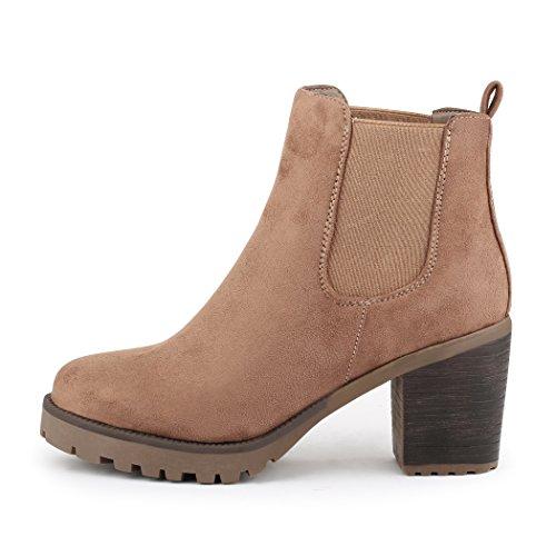 best-boots Damen Plateau Stiefelette Chelsea Boots Khaki NEU samt