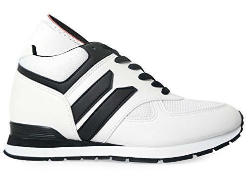 Increase White High WHITE Elevator Shoes Sneakers Men's MNX15 Sneakers Heel Height Wedge 3 5