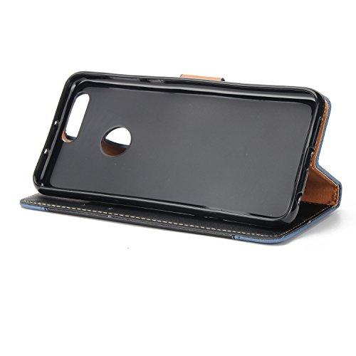 Olyee Huawei Honor 8 Hülle, Leder PU Cover Magnet Flip Hülle Schutzhülle Kartensteckplätzen und Ständer Handytasche für handyhülle Huawei Honor 8 Black
