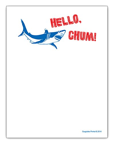Hello Chum Shark Funny Office Gag Gift Notepad - for Coworker, Boss, Manager, Friends