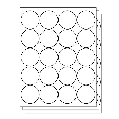 OfficeSmartLabels Round Circle Dot 2 inch Diameter Stickers Labels for Laser & Inkjet Printers, 2 Inch, 20 per sheet, White, 3000 Labels, 150 Sheets ()