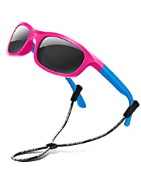 RIVBOS Rubber Kids Polarized Sunglasses for Boys Girls Child Age 3-10 RBK025-3