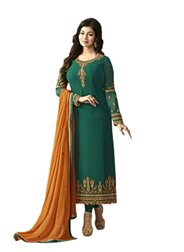 (Latest Indian Designer Stylish Georgette Fabric Semi Stitched Salwar Suit in Pine Green Color)
