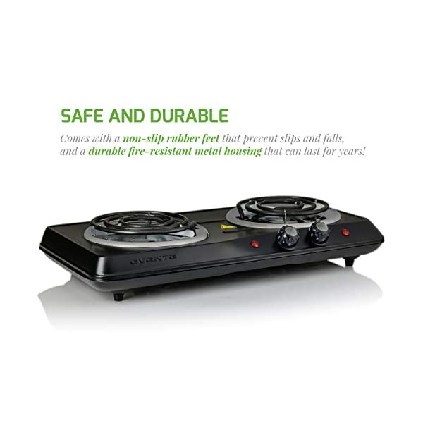Ovente 5.7 & 6 Inch Double Hot Plate Electric Coil Stove, Portable 1700 Watt Cooktop Countertop Kitchen Burner with… 6