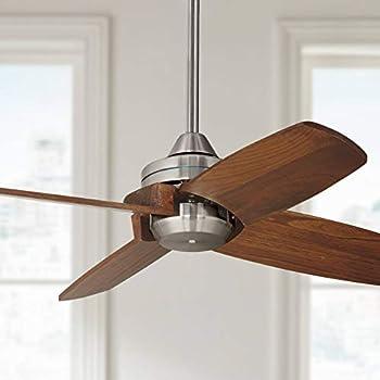 32 Quot Pronto Modern Ceiling Fan Brushed Nickel Carved Wood Walnut For Living Room Kitchen Bedroom