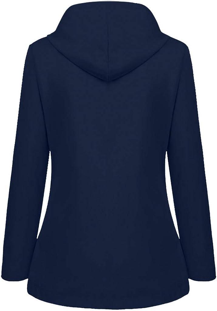 Bigfanshu Outerwear for Women Solid Rain Outdoor Plus Waterproof Hooded Raincoat Windproof Jacket Coat