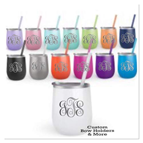 ENGRAVED Stainless Steel Wine Tumbler, ONE 12oz Cup Monogrammed With Any Monogram, Lid and Straw, Mother's Day, Teacher Appreciation, Bachelorette Bridal Wedding Gifts, Any Color Shown ()