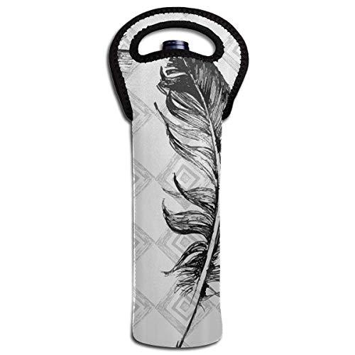 Single-Bottle Neoprene Wine/Water Bottle Tote Bag Mosaic Pattern Fluffy Wings Fly Thermal Wine Bottle Carrying Cooler Carrier for Travel, Picnic, for Wine Lover ()