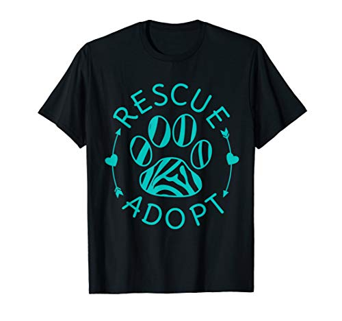 - Rescue Adopt Animal Lover Love Cats Dogs Paw Print T-Shirt