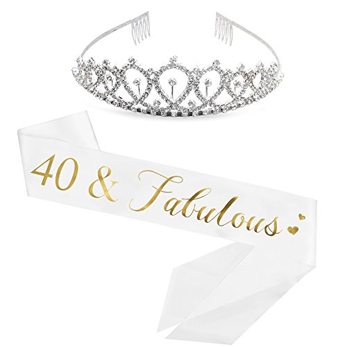 (40 and Fabulous Sash & Rhinestone Tiara Kit - 40th Birthday Sash Fabulous 40 Sash Birthday Party Favors, Supplies and Decorations (Sash&Tiara))