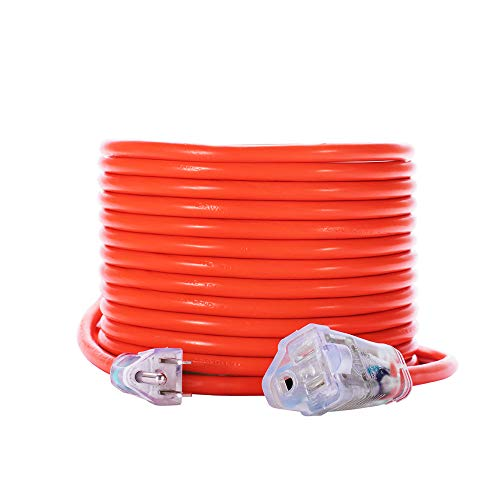KMC 16AWG Power Outdoor Extension Cord with Light, Bright Orange Extension Cord - 50 ()