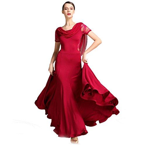 Women Special Neck Design Gauze Joint Lace Short Sleeves Long Hemline Ballroom Waltz Dresses for Foxtrot Flamenco Modern Dance (S, Wine Red)