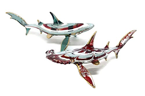 NaCraftTH Set of 2 Great White Shark Hammerhead Shark Glass Figure Ocean Sea Life Murano Glass Blowing Artwork Handicraft Figurines Fish Tank Ornament Aquarium Decorations