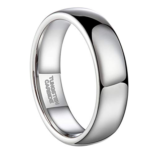 6mm Silver Tungsten Carbide Ring for Men Women Wedding Band High Polished Shiny Domed Comfort Fit Size 4-13 (Tungsten-Dome, 7.5)