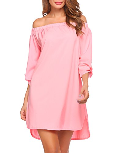Le Top Pink Dress (Finejo Women's 3/4 Sleeve Casual Off The Shoulder Loose Mini Dress Long Tops (Small, Pink))
