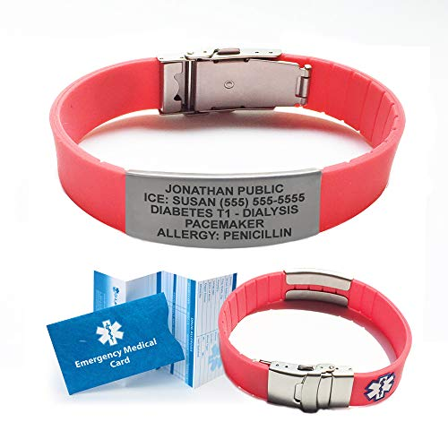 Incl Clasp - Silicone Sport Medical Alert ID Bracelet (Incl. 5 Lines of Custom Engraving). Choose Your Color! - (Coral Red)