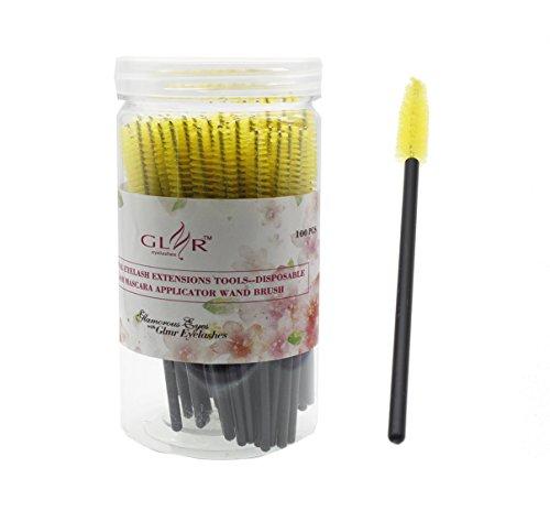 100Pcs Disposable eyelash brushes(Yellow+Black) - 2