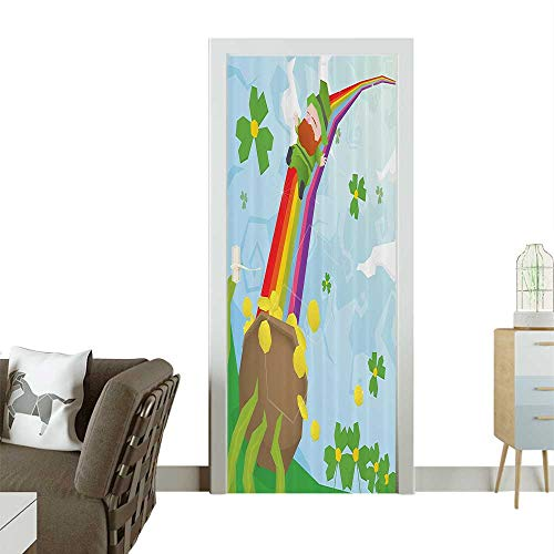 Door Sticker Wall Decals Abstract Carto Leprechaun Sliding Down Rainbow Gold and Shamrock Easy to Peel and StickW32 x H80 INCH